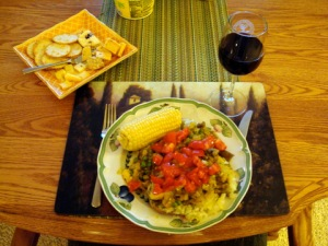 A meal I made for my mother with produce from John's garden.
