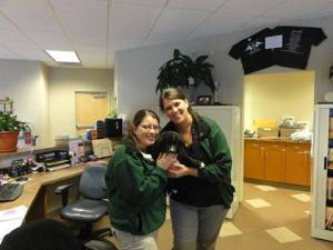 A last stop at the Veterinary Referral and Emergency Center (VREC) so that caregivers Ashley (left) and Jen (right) could say good-bye.
